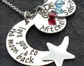 Mother Jewelry - Personalized Necklace - COCO mother necklace with moon and two discs and crystals