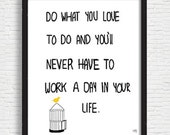 Do What You Love Printable Art, Inspirational Quote, Typography Art, Digital Download, Digital Prints, Black and White Art, Wall Art Prints
