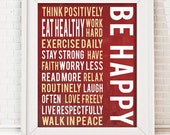 """Printable Typography Art """"Be Happy"""" Inspirational Quote , red home decor, downloadable art"""