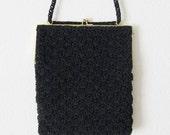 Vintage Black Purse Crossbody Crochet Rayon Mid Century Shoulder Bag Handbag Cording Soft Sateen Lining Rare Estate