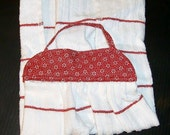KITCHEN TOWEL #4 Red White Cotton Terry Cloth Fabric Top, Amer Made, Paw Wiper, Mix and Match Studio, BBQ Laundry Room Bath Masculine