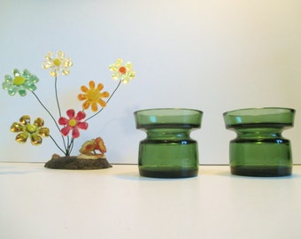 Beautiful Pair of Vintage Olive Green DANSK Finland Candle Holders, Marked