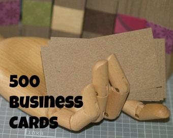 500 Business Card Blanks ... Lightweight Kraft Chipboard Kraft Cards Seller Supplies DIY Business Card Rustic Cards Eco Friendly Bulk Qty
