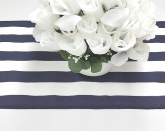 120L x 13W navy blue and white stripe Wedding party table runnerl, wedding decorations, tablerunner