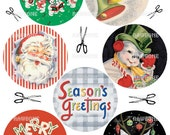 Digital Download Vintage Christmas Greeting Card Art, retro Christmas Cards
