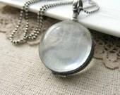 Clear Locket Necklace, Glass Photo Locket, Oxidize Sterling Silver Locket Pendant, Modern Locket, Push Gift, Glass Locket, Maternity Jewelry