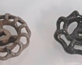 Set of 2 Vintage Metal Spigot Handles, One Black, One Silver