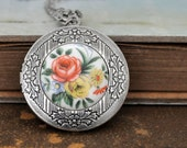 silver flower locket necklace, THE ROSE LOCKET antiqued silver brass locket necklace vintage floral glass cab, steel chain, vintage cab