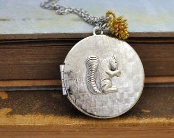 silver locket necklace, TINY SQUIRREL, 70s vintage locket necklace with squirrel charm and tiny golden brass acorn charm