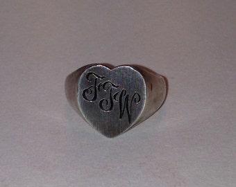 Sterling Silver Heart Shaped Vintage Signet Ring Engraved FTW