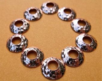 Big hole bead caps in bubble copper