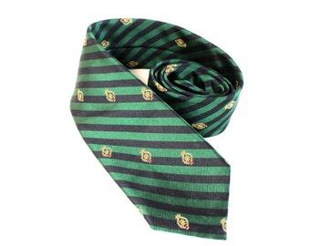 Vintage 1970s Green preppy necktie by James River Trades