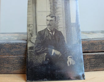 Victorian Tintype Portrait / Handsome Seated Gentleman