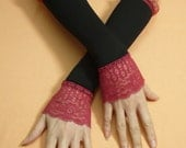 Elegant Retro Armwarmers Black Burgundy Stretchy Lace, Evening Gloves for Special Occasion, Armstulpen  Fingerless, 20's Style, Victorian