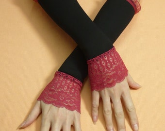 LAST PAIR Retro Armwarmers Black Burgundy Stretchy Lace, Evening Gloves for Special Occasion, Armstulpen  Fingerless, 20's Style, Victorian