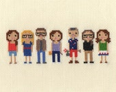 Large Family Custom Pixel Cross Stitch Portrait (Framed)