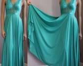 Vintage Teal Olga Bodysilk full circle skirt silky nightgown with a grand 203 inch sweep Style 9687