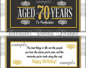 70th Birthday Party Favors Hershey's Candy Bar Wrappers