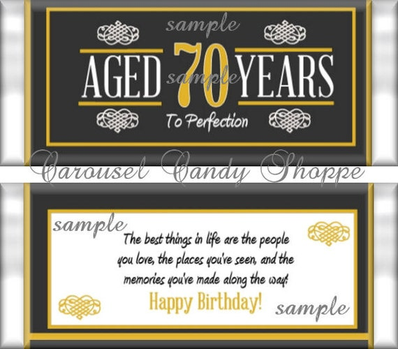70th Birthday Party Favors Hershey S Candy Bar Wrappers