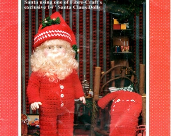 Bedtime Santa Crochet 14 Fourteen Inch Doll Clothes Long Johns Union Suit Drop Seat Night Cap Slippers Craft Pattern Leaflet FCM359