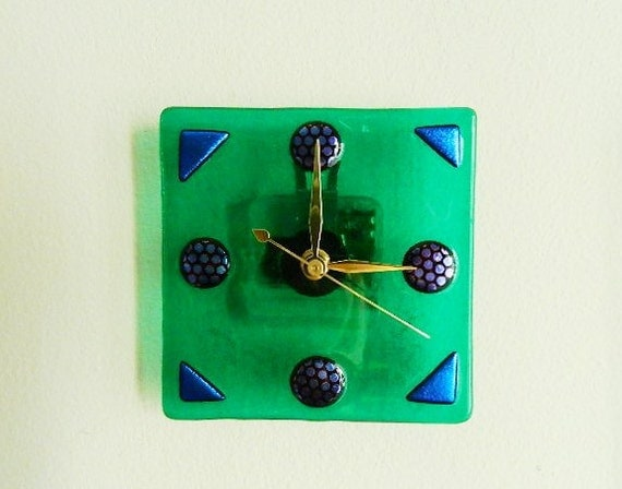 art deco style fused glass wall or desk clock rich blue green