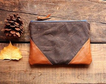 Waxed canvas utility pouch Clutch Upcycled leather trim Unisex pouch - READY--