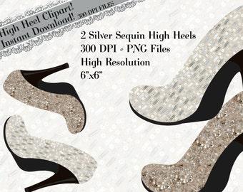 Shoe Clipart, High Heel Clipart, Sequin Heel Clipart