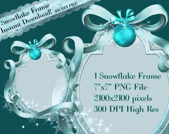 Frozen Clipart Frame, Snowflake Clipart Frame, Winter Clipart Frame