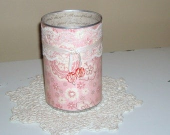 Dusty Rose Floral and Lace Pencil Holder - Makeup Brush Holder - Dusty Pink Pencil Cup - Pink Desk Accessories - Desk Organization - 465