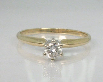 Vintage Diamond Solitaire Engagement Ring - 0.22 Carat Diamond - Six Prong