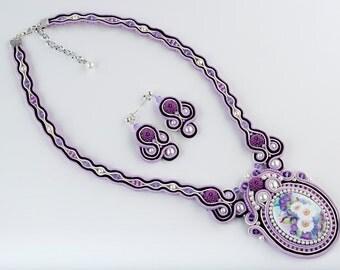 Soutache Porcelain Bouquet of Flowers Necklace, White Lilac Cameo Pendant, Sterling Silver Earrings