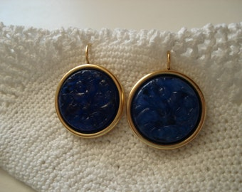 Vintage Carved Lapis Lazuli Jade Glass Earrings in Gold Plated Pierced Earrings
