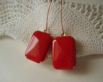 Vintage Art Deco Opaque Red Czech Jade Glass Gold Earrings