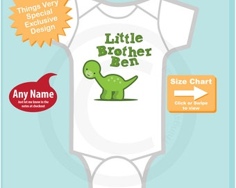 Little Brother Shirt or Onesie with Dinosaur Personalized with Name Pregnancy Announcement (10012014b)