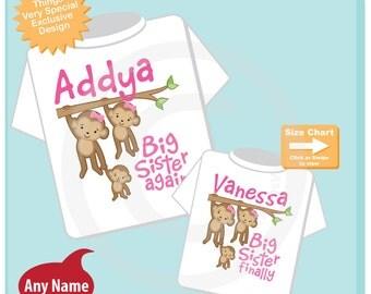 Big Sister Again and Big Sister Finally Shirt set of 2, Sibling Shirt, Personalized Tshirt with Cute Monkeys (10082014m)