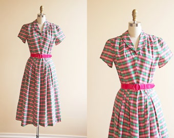 Vintage 1930s Dress - 30s Dress - Pink Apple Green Plaid Cotton Swing Dress S M - Isle of Skye