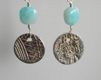 Fine Silver Textured Earrings and Peruvian Opal Earrings