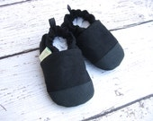 Organic Vegan Black Hemp Blend / Non-Slip Soft Sole Baby Shoes / Made to order / Babies Toddlers