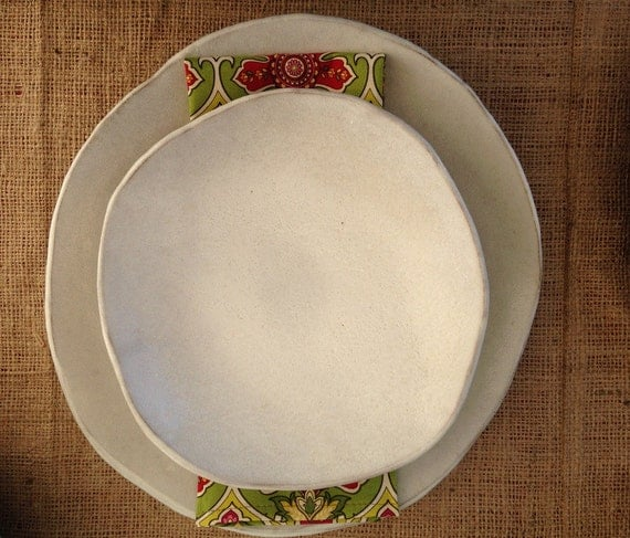 dinner plates in white dinnerware ceramic by bluedoorceramics