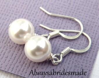 Pearl Earrings,White Pearl Bridal Earrings,Bridesmaids Earrings, Sterling Silver Pearl Drop Earrings, Wedding Earrings, Flower Girl Earrings