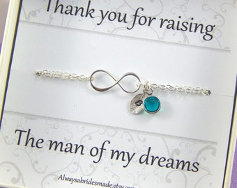Personalized Thank You Gift Bracelet  Mother In Law Bracelet Birthstone And Hand Stamped Leaf Bracelet In Law Gift  Sterling Silver