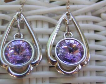 Lavander Rivoli Silver Trefoil Earrings