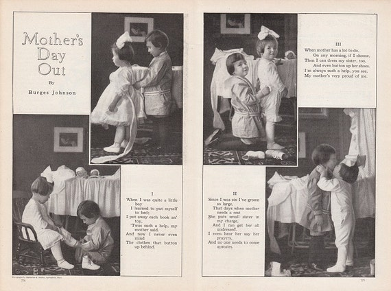 1913 Poem Mother's Day Out by Burges Johnson Young Boy & Girl