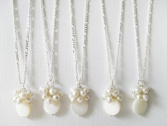 Set of Five, Bridesmaid Pearl necklace, White Freshwater Pearl Cluster Sterling Silver Chain, Bridesmaid Jewelry Sets, free shipping Patty