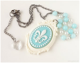 Fleur De Lis Necklace, Pastel Blue and Off White, Beaded Chain - Sweet Lolita, Kawaii
