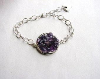 Amethyst Chain Bracelet Rough Stone Chip Bracelet Purple Rock Bracelet February Bracelet Minimalist Stacking Bracelet Naturalist Geology