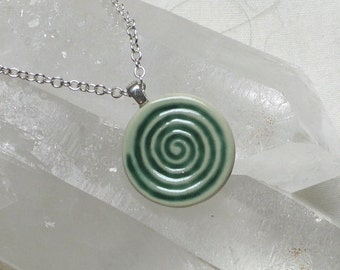 Spiral Pendant Hand Cast English Porcelain from My Original Bone Carving