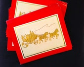 Vintage Holiday Christmas Greeting Card Set -Dickens Carriage  Lot of 15 cards