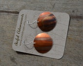 Fire Patina Copper Domed Disc Earrings