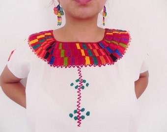 Mexican Top Blouse Red Color Comfortable Embroidered cotton M / L